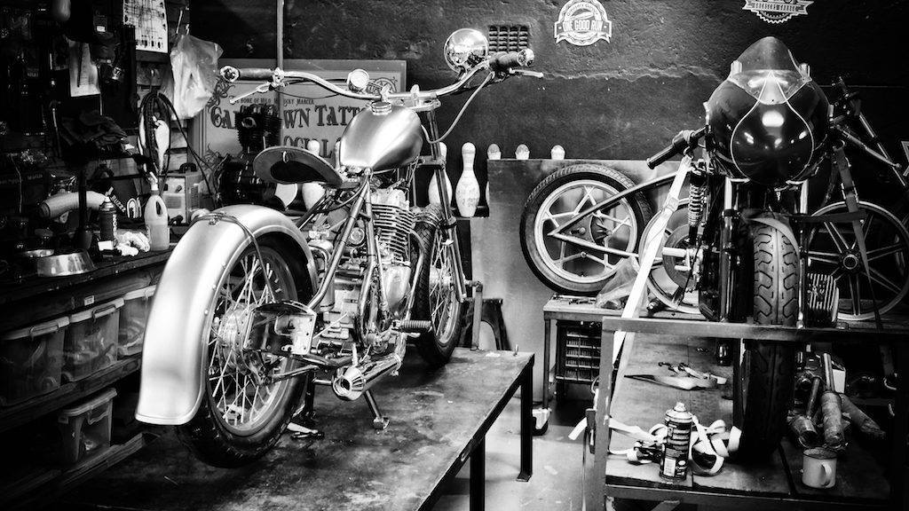 Motorcycles, bikes, workshop, cool, bobber, chopper, balck and white, build,